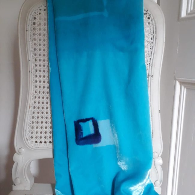 Sea blue scarf with navy box feature